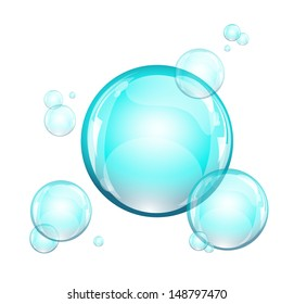 Azure water bubbles, EPS 10, isolated