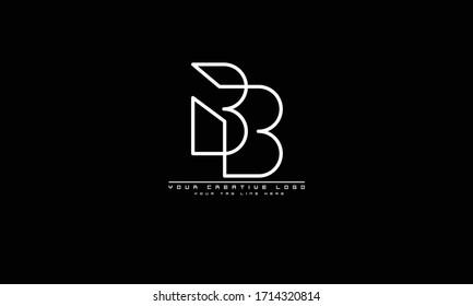 B abstract vector logo monogram template