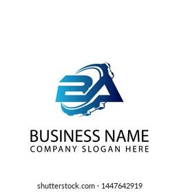 B A automotive letter logo. Auto, motor, repair, transportation, race, automobile, speed, transport, sport Vector Logo design template