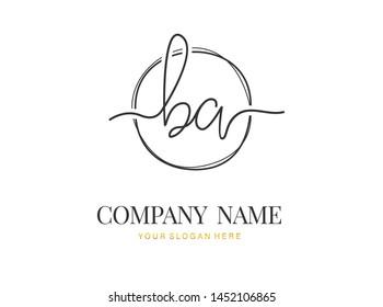 B A BA Initial handwriting logo design with circle. Beautyful design handwritten logo for fashion, team, wedding, luxury logo.