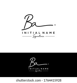B A BA Initial letter handwriting and signature logo.