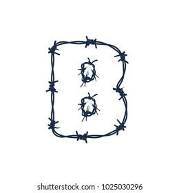 B Barbed Wire Letter Logo Icon Design