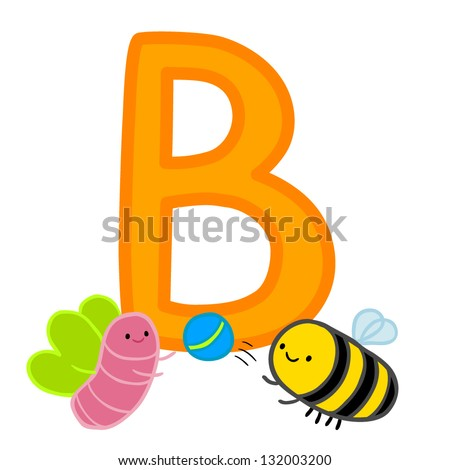 b bee butterfly ball letter funny stock vector royalty free
