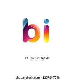 B I BI Logo Letter Design Vector colorful glossy color. Design Template
