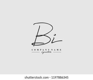 B I BI  Signature initial logo template vector
