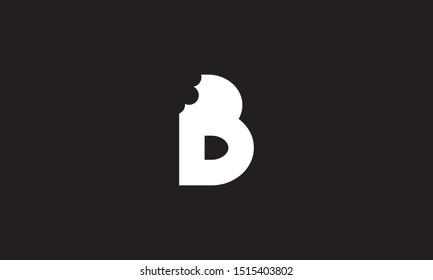 B bite letter logo. Unique attractive creative modern initial B logo with bites shape design