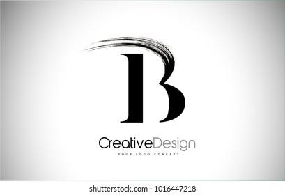 B Brush Stroke Letter Logo Design.  Black Paint Logo Letter  Icon with Elegant Vector Design.