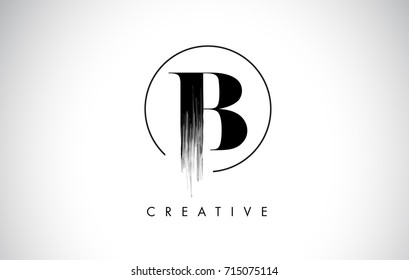 B Brush Stroke Letter Logo Design. Black Paint Logo Leters Icon with Elegant Circle Vector Design.