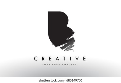 B Brushed Letter Logo. Black Brush Letters design with Artistic Brush stroke design.