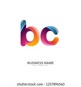 B C BC Logo Letter Design Vector colorful glossy color. Design Template