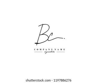 B C BC Signature initial logo template vector