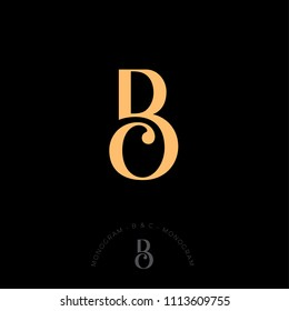 B and C combined letters, the initial of beautiful letters. Classic style. Monochrome option.