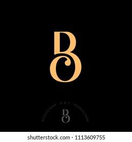 B und C kombinierten Buchstaben, die erste von schönen Buchstaben. Klassischer Stil. Monochrome Option.