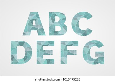A B C D E F G polygonal geometric letters. Decorative blue geometric abc isolated icons. Abstract triangle alphabet symbols for text, font, typography, decoration, design, illustration