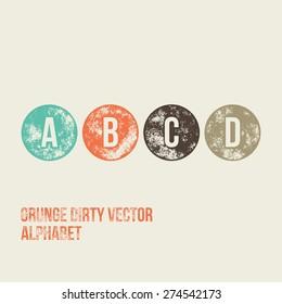 A B C D Grunge Retro Circular Stamp Type - Vector Alphabet - Font