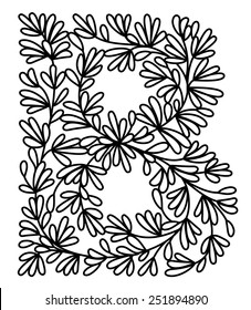 B capital with floral pattern. Can be used as paper cut, all parts are connected.