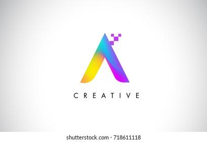 B Colorful Logo Letter Design Vector. Creative Rainbow Gradient Letter Icon Illustration.
