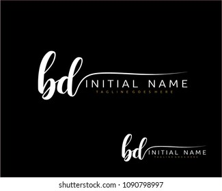 B D Initial handwriting logo vector. Hand lettering for designs.