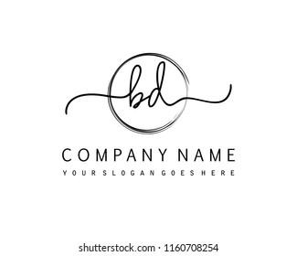 B D Initial handwriting logo vector