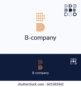 B D letter alphabet grid logo, geometry dots lines logotype, abstract symbol multi Variability logo isolated on white background.