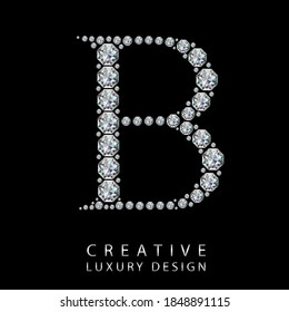 B diamond letter vector illustration. White gem symbol logo for your luxury business, casino, jewelry or web site. Upper letter with many sparkling diamonds isolated on black background.