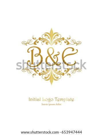 b e initial wedding logo template stock vector royalty free