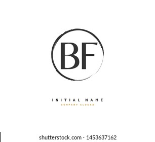 B F BF Beauty vector initial logo, handwriting logo of initial signature, wedding, fashion, jewerly, boutique, floral and botanical with creative template for any company or business.