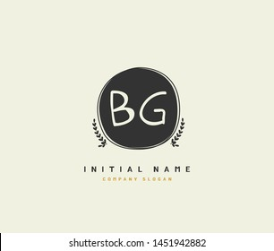 B G BG Beauty vector initial logo, handwriting logo of initial signature, wedding, fashion, jewerly, boutique, floral and botanical with creative template for any company or business.