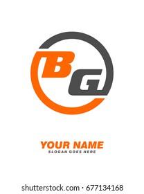 B G initial circle logo template vector