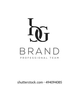 B and G letters luxury vector logo design template
