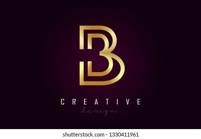 B Golden Letter Logo Monogram Vector Design. Creative B Gold Metal Letter Icon Vector Illustration.