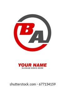 B A initial circle logo template vector