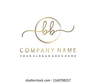 B B Initial handwriting logo vector