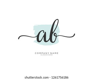A B Initial handwriting logo vector