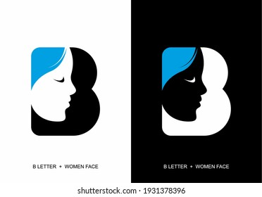 B initial letter with silhouette of women face design