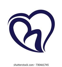 B Initial Love Logo Vector