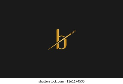 B intial needle logo style vector design illustration