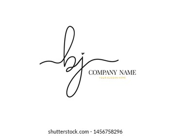 B J BJ Initial handwriting logo design with circle. Beautiful design handwritten logo for fashion, team, wedding, luxury logo.