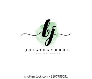 B J BJ Initial watercolor logo on white background. Logo template vector
