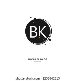 B K BK Initial logo letter with minimalist concept. Vector with scandinavian style logo.