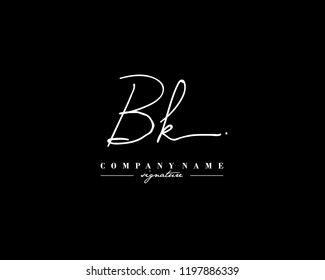 B K BK Signature initial logo template vector