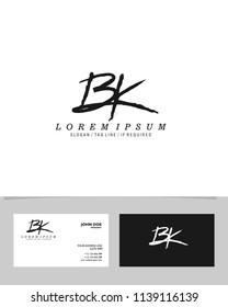 B K Initial brush logo vector template