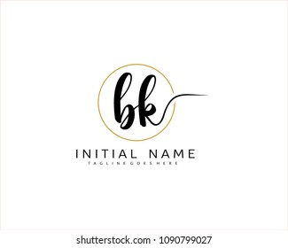 B K Initial handwriting logo vector. Hand lettering for designs.