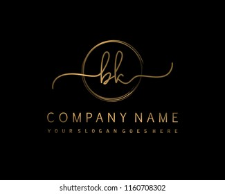 B K Initial handwriting logo vector