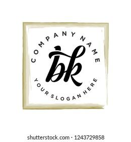 B K Initial handwriting logo vector