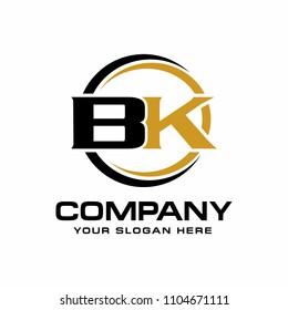 B K initial letter, modern logo design vector