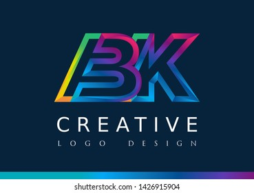 B K  Logo. BK Letter Design Vector with Magenta blue and green yellow color.