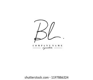 B L BL Signature initial logo template vector