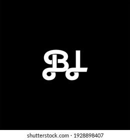 B L letter logo abstract design on black color background. bl alphabet