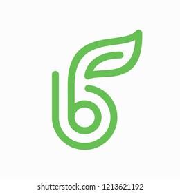 b leaf line icon vector